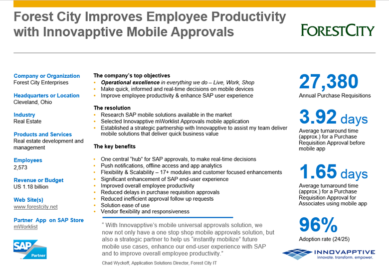See how Forest City Enterprises reduced overall approval cycle time by over 150%